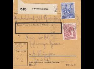 BiZone Paketkarte 1948: Schweitkirchen Günthersdorf nach München