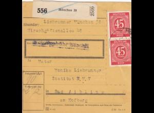 BiZone Paketkarte 1947: München 38 nach Bad Aibling, Institut B.M.V.