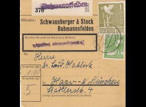 BiZone Paketkarte 1948: Ruhmannsfelden Achslach nach Haar, Selbstbucher
