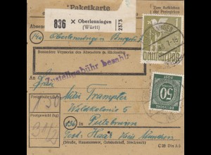 BiZone Paketkarte 1948: Oberlenningen nach Putzbrunn