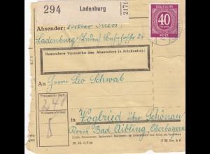 BiZone Paketkarte 1947: Ladenburg nach Voglried über Schönau