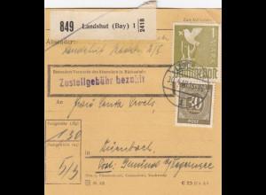 BiZone Paketkarte 1948: Landshut nach Dürnbach, Post Gmund Tegernsee