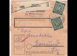 BiZone Paketkarte 1947: München-Obermenzing nach Gmund