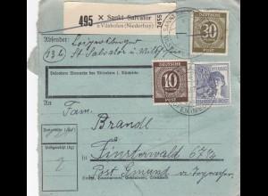 BiZone Paketkarte 1947: Sankt Salvator üb. Vilshofen n. Finsterwald, Formular