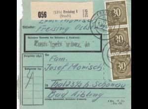 BiZone Paketkarte 1946: Freising 1 nach Thal, besonderes Formular