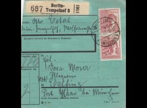 BiZone Paketkarte 1947: Berlin-Tempelhof nach Eglfing, besonderes Formular
