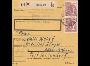 BiZone Paketkarte 1948: Berlin, Friseur, nach Teisendorf