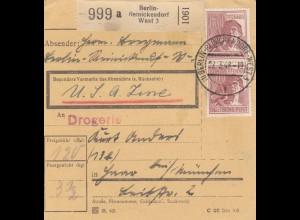 BiZone Paketkarte 1948: Berlin-Reinickendorf nach Haar, Drogerie