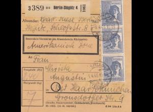 BiZone Paketkarte 1948: Berlin-Steglitz nach Haar, Amerikanische Zone