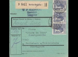 BiZone Paketkarte 1947: Berlin-Steglitz nach Feilnbach, besonderes Formular