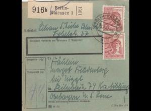BiZone Paketkarte 1947: Berlin-Halensee nach Feilnbach, besonderes Formular