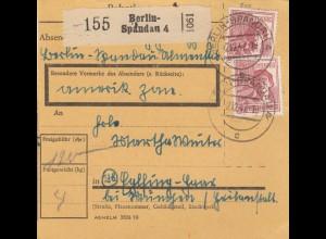 BiZone Paketkarte 1947: Berlin-Spandau nach Eglfing-Haar