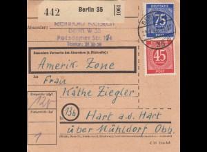 BiZone Paketkarte 1948: Berlin W 35 nach Hart a.d. Hart