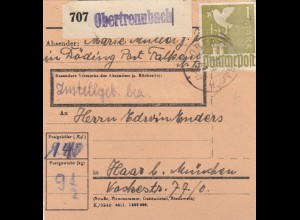 BiZone Paketkarte 1948: Döding Obertrenndorf nach Haar
