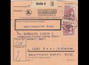 BiZone Paketkarte 1948: Berlin, Farbwerk, nach Haar