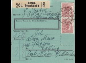 BiZone Paketkarte 1947: Berlin-Tempelhof nach Haar, Pflegerin, bes. Formular