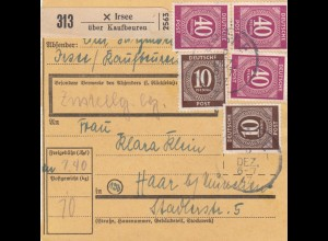 BiZone Paketkarte 1947: Irsee Kaufbeuren nach Haar