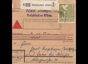 BiZone Paketkarte 1949: Holzkirchen nach Haar, Stiessberger u. Söhne, Nachnahme