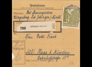 BiZone Paketkarte 1947: Klingenburg Jettingen nach Haar