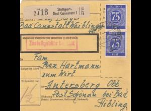 BiZone Paketkarte 1947: Stuttgart-Bad Cannstatt nach Anaersberg bei Bad Aibling