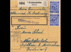 BiZone Paketkarte 1948: Frickenhofen nach Neukeferloh