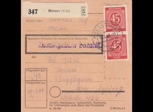 BiZone Paketkarte 1948: Moosen Vils nach Haar, Oberpflegerin