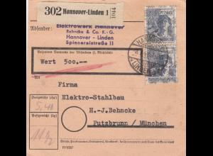 BiZone Paketkarte 1948: Hannover nach Putzbrunn, Wertkarte, Elektro-Stahlbau