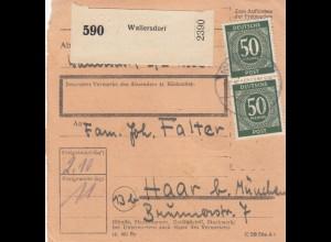 BiZone Paketkarte 1948: Wallersdorf nach Haar