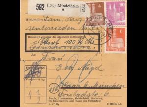 BiZone Paketkarte 1948: Mindelheim nach Haar, Wertkarte
