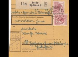BiZone Paketkarte 1947: Berlin-Spandau nach Haar Eglfing b. München