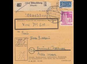 BiZone Paketkarte 1948: Münchberg nach Gmund, Wertkarte 500 DM