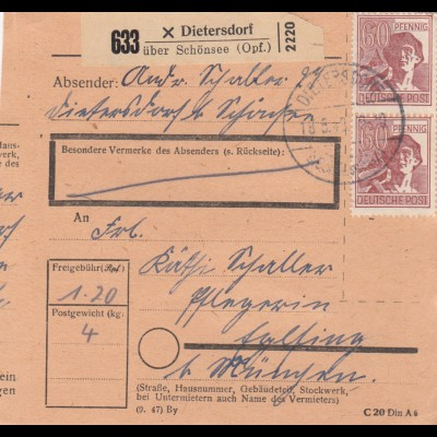 BiZone Paketkarte 1948: Dietersdorf Opf. nach Eglfing, Pflegerin