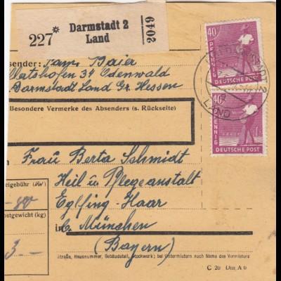 BiZone Paketkarte 1948: Darmstadt Land nach Eglfing, Heilanstalt