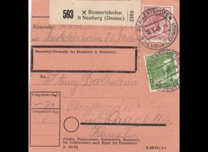 BiZone Paketkarte 1948: Rennersthofen b. Neuburg nach Haar, Oberpflegerin