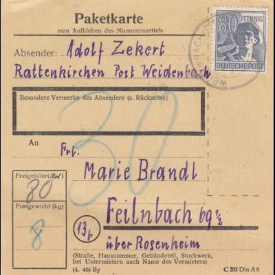BiZone Paketkarte: Rattenkirchen Post Weidenbach nach Feilnbach