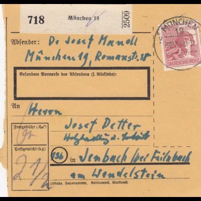 BiZone Paketkarte 1947: München 19 nach Jenbach, Holzhandlung
