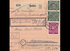 BiZone Paketkarte 1947: Brilon nach Hildesheim, Nachs. Feilnbach, Wertkarte