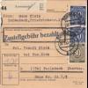 BiZone Paketkarte 1947: Schwabach nach Feilnbach