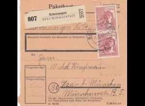 BiZone Paketkarte 1948: Schonungen über Schweinfurt nach Haar