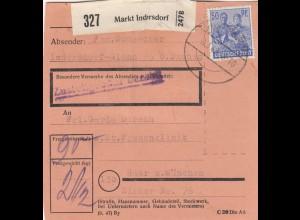 BiZone Paketkarte 1948: Indersdorf-Glonn nach Haar, Frauenklinik