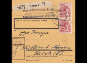 BiZone Paketkarte 1948: Bonn, Dentistin, nach Haar