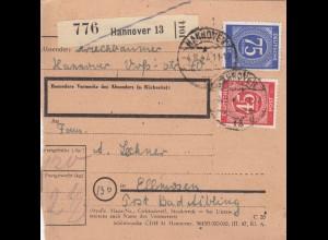 BiZone Paketkarte 1947: Hannover nach Ellmosen Bad Aibling