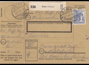 BiZone Paketkarte 1948: Aalen nach Neukeferloh