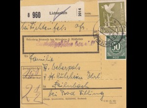 BiZone Paketkarte 1947: Lichtenfels nach Feilnbach