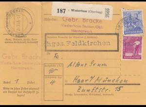 BiZone Paketkarte 1948: Gebr. Bracke Marmorwerk, Westerham nach Haar