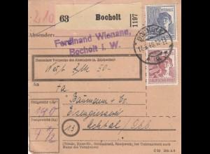 BiZone Paketkarte 1948: Bocholt nach Achtal, Eissengiesserei, Wertkarte