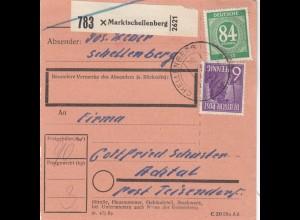 BiZone Paketkarte 1948: Marktschellenberg nach Achtal Post Teisendorf