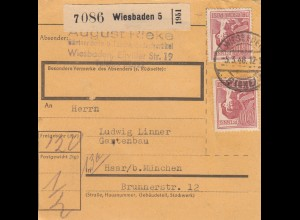 BiZone Paketkarte 1948: Wiesbaden nach Haar, Gartenbau