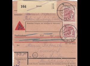 BiZone Paketkarte 1948: Rehau nach Teisendorf, Nachnahme