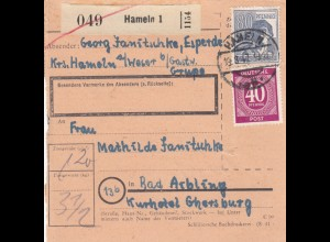 BiZone Paketkarte 1947: Hameln nach Bad Aibling, Kurhotel